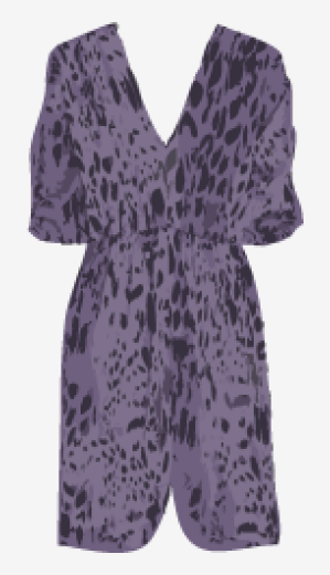 Lavender-gray Tucker A Line Dress
