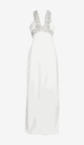 Soft-white Azzaro Empire Dress